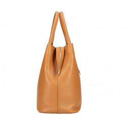 Béžová kožená kabelka 1137 Béžová #3
