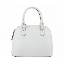 Biela dámska kožená kabelka 444, Biela