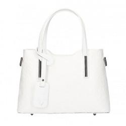 Biela kožená kabelka 1493, Biela