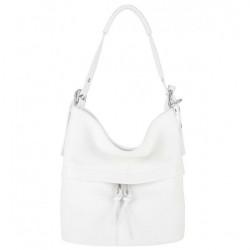 Biela kožená kabelka na rameno 631, Biela