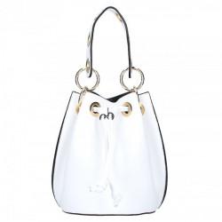 Biela vaková kožená kabelka 5319, Biela