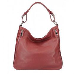 Bordová kožená kabelka na rameno 390 Bordová