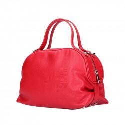 Červená kožená kabelka 5301 MADE IN ITALY, Farba červená MADE IN ITALY 5301