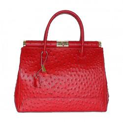 Červená kožená kabelka do ruky 501, Červená
