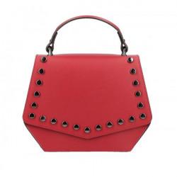 Červená kožená kabelka do ruky 5101, Červená