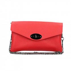 Červená kožená kabelka na rameno MADE IN ITALY, Farba červená MADE IN ITALY 5303
