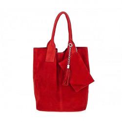 Červená kožená kabelka v úprave semiš 804, Červená
