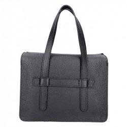 Čierna kožená kabelka 5302 MADE IN ITALY, čierna