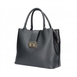 Čierna kožená kabelka 5307, Čierna