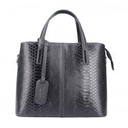 Čierna kožená kabelka 960, Čierna