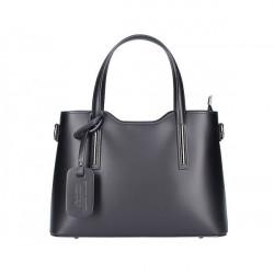 Čierna kožená kabelka do ruky 1364 Made in Italy, Čierna