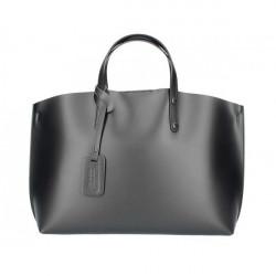 Čierna kožená kabelka do ruky 5304, Čierna