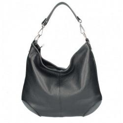 Čierna kožená kabelka na rameno 204, Čierna
