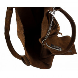 Čierna kožená kabelka v úprave semiš 804, Čierna #1