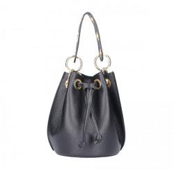 Čierna vaková kožená kabelka 5319, Čierna