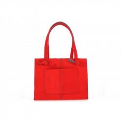 Dámska filcová kabelka na rameno 805 červená MADE IN ITALY, červená