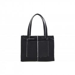 Dámska filcová kabelka na rameno 805 čierna MADE IN ITALY, čierna