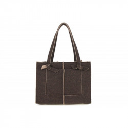 Dámska filcová kabelka na rameno 805 tmavohnedá MADE IN ITALY, hnedá