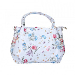 Dámska kabelka 784 s kvetmi Biela