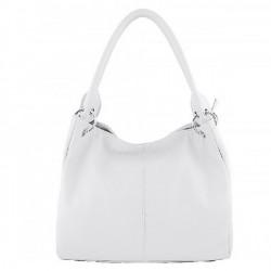 Dámska kožená kabelka 1107 biela, Biela