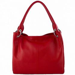 Dámska kožená kabelka 1107 červená, Červená