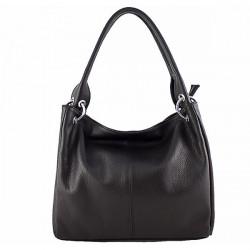 Dámska kožená kabelka 1107 čierna, Čierna