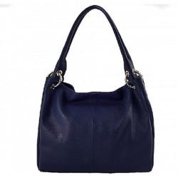 Dámska kožená kabelka 1107 tmavomodrá, Modrá