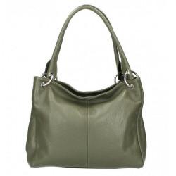 Dámska kožená kabelka 1107 vojensky zelená Zelená