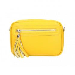 Dámska kožená kabelka 1220 žltá Made in Italy Žltá