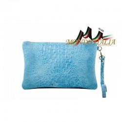 Dámska kožená kabelka 1475 nebesky modrá MADE IN ITALY 1475