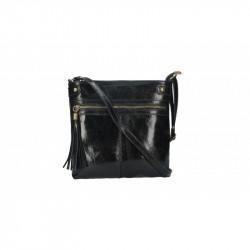 Dámska kožená kabelka 5086 čierna MADE IN ITALY, čierna