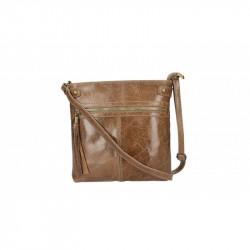 Dámska kožená kabelka 5086 tmavá šedohnedá MADE IN