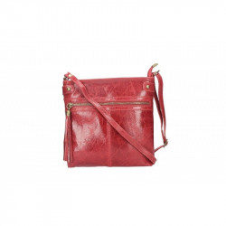 Dámska kožená kabelka 5086 tmavočervená MADE IN ITALY, červená