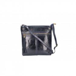 Dámska kožená kabelka 5086 tmavomodrá MADE IN ITALY, modrá