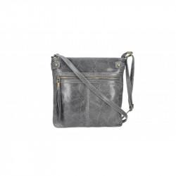 Dámska kožená kabelka 5086 tmavošedá MADE IN ITALY,