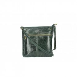 Dámska kožená kabelka 5086 tmavozelená MADE IN ITALY,