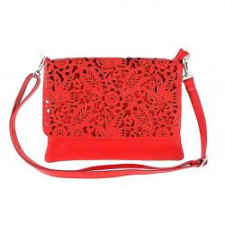 Dámska kožená kabelka 546, Červená