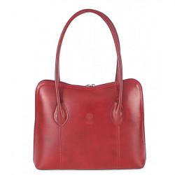 Dámska kožená kabelka 672 červená, Červená