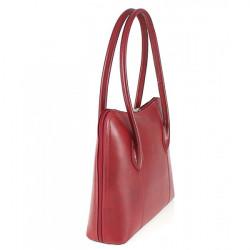 Dámska kožená kabelka 672 červená, Červená #3
