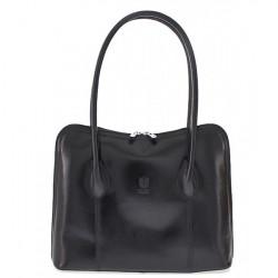 Dámska kožená kabelka 672 čierna, Čierna