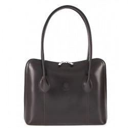 Dámska kožená kabelka 672 tmavohnedá, Hnedá