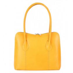 Dámska kožená kabelka 672 žltá, Žltá