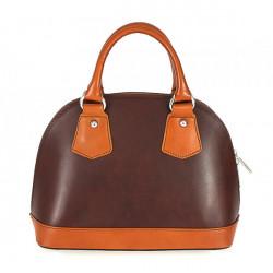 Dámska kožená kabelka 900 hnedá + koňak, Hnedá