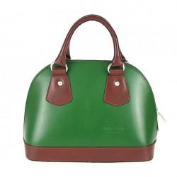 Dámska kožená kabelka 900 zelená + hnedá, Zelená