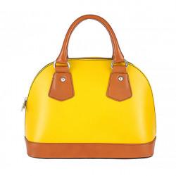 Dámska kožená kabelka 900 žltá + koňak, Žltá