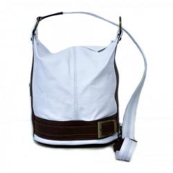Dámska kožená kabelka/batoh 1201 biela Made in Italy, Biela