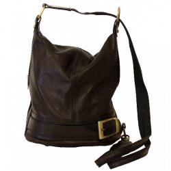 Dámska kožená kabelka/batoh 1201 čierna Made in Italy, Čierna