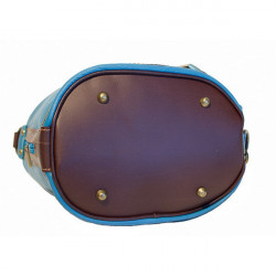 Dámska kožená kabelka/batoh 1201 čierna Made in Italy, Čierna #4