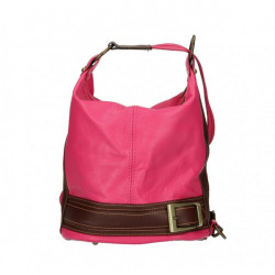 Dámska kožená kabelka/batoh 1201 fuchsia Made in Italy, Fuchsia