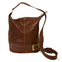 Dámska kožená kabelka/batoh 1201 hnedá Made in Italy, Hnedá